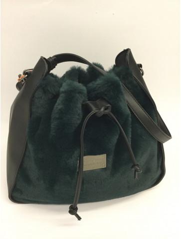 Pouch faux fur green bag