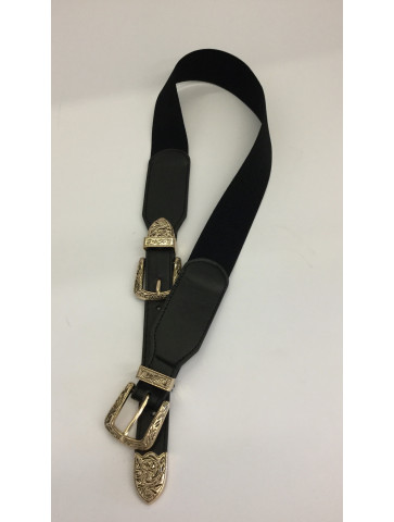 Elastic belt with gold buckle