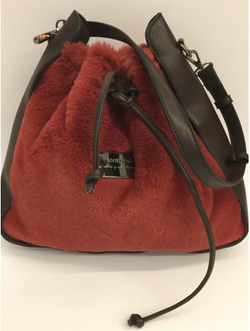 Red faux fur bag poutc