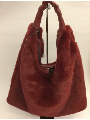 Burgundy faux fur bag