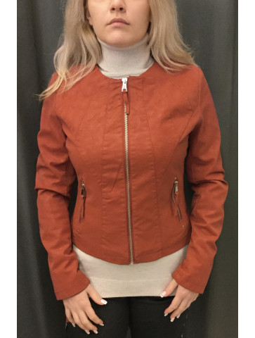 Fabric Leather like Jacket
