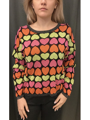 Blouse - print hearts in...