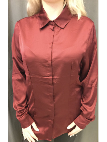Burgundy satin like Shirt