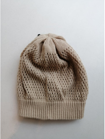 Knitted beige hat