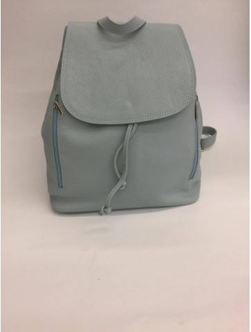Light blue Leather Backpack