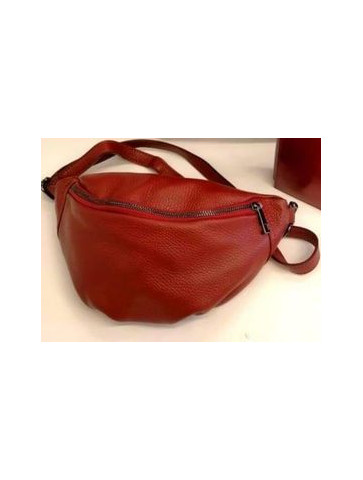 Red leather waist bag