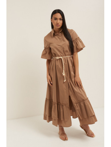Long poplin dress with...