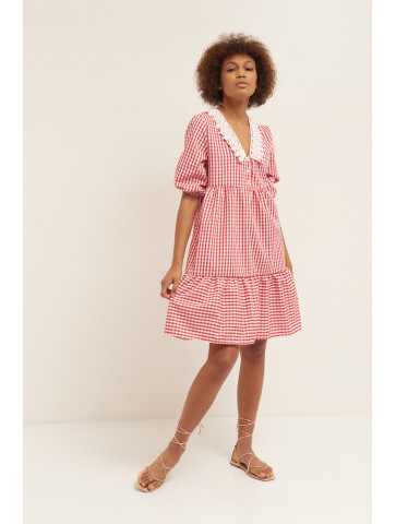 Vichy cotton dress with...