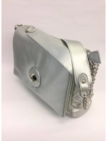 Shoulder bag - striking silver color