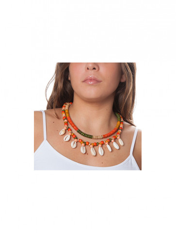 Necklace - two lines of coloured coconut discs