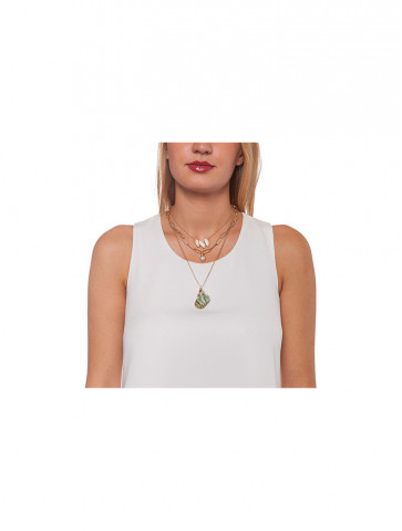 Three lines necklace - chains, shells, snails and freshwater pearls
