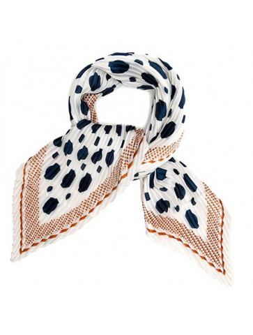 Pleated square scarf - silk...