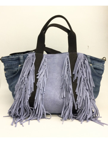 Jean bag with lilac leather fringes