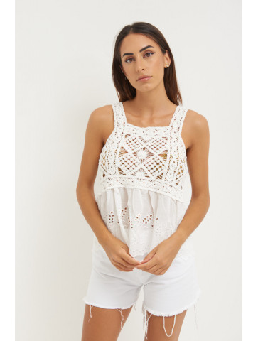 KNITTED TOP PLUS BRODERIE...