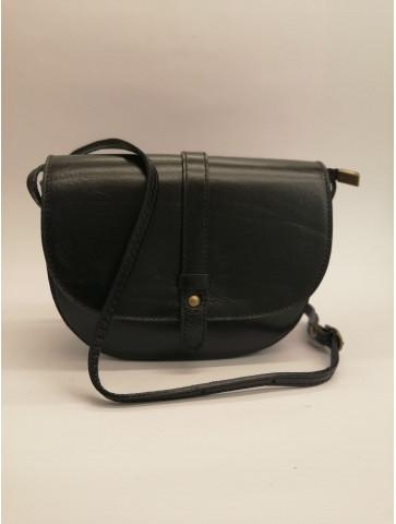 Leather semicircular black Bag