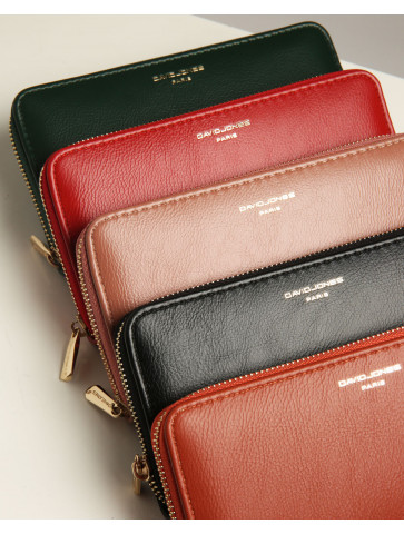 Wallet with gold outer zipper