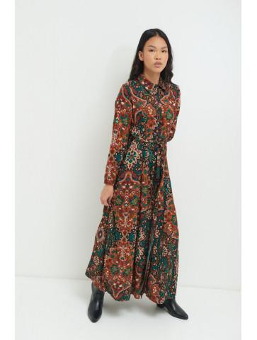 Long Cashmere Patterned Dress