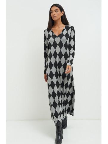 Long Dress with Diamond design