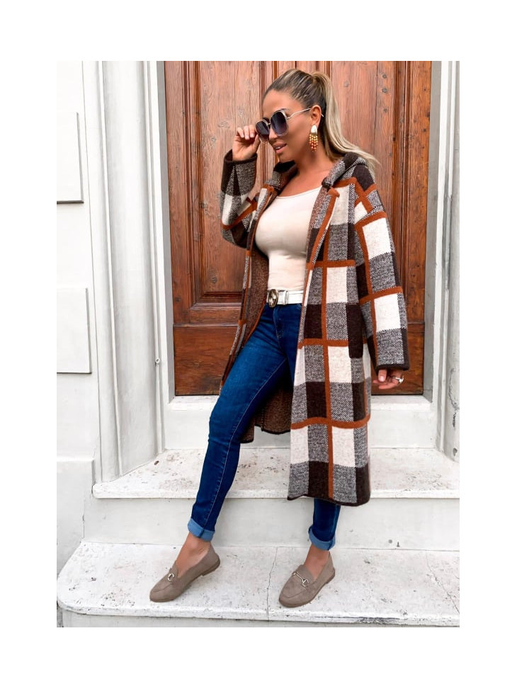Coat one size, hooded, checkered in brown color.