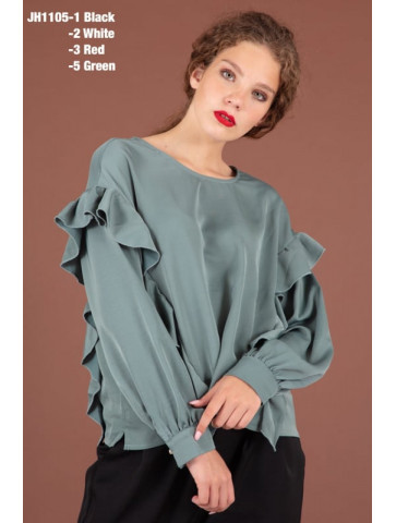 Long sleeve blouse with volan in mint color, two sizes S/M & L/XL