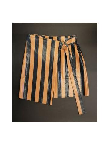 Striped leather like Skirt