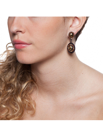Earrings with beads and...