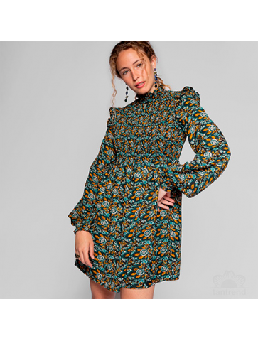 Peacock printed Short dress