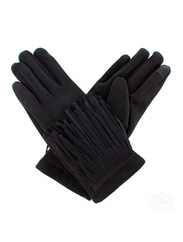 Suede gloves with fringing