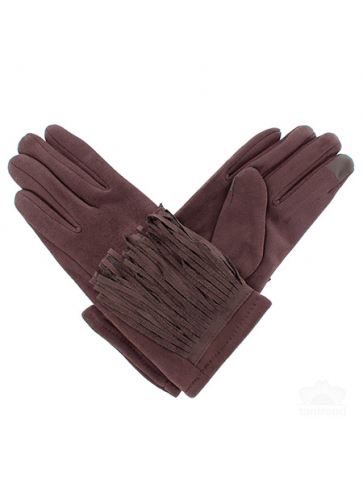 Suede brown gloves with...