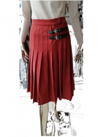 Pleated skirt in tile color